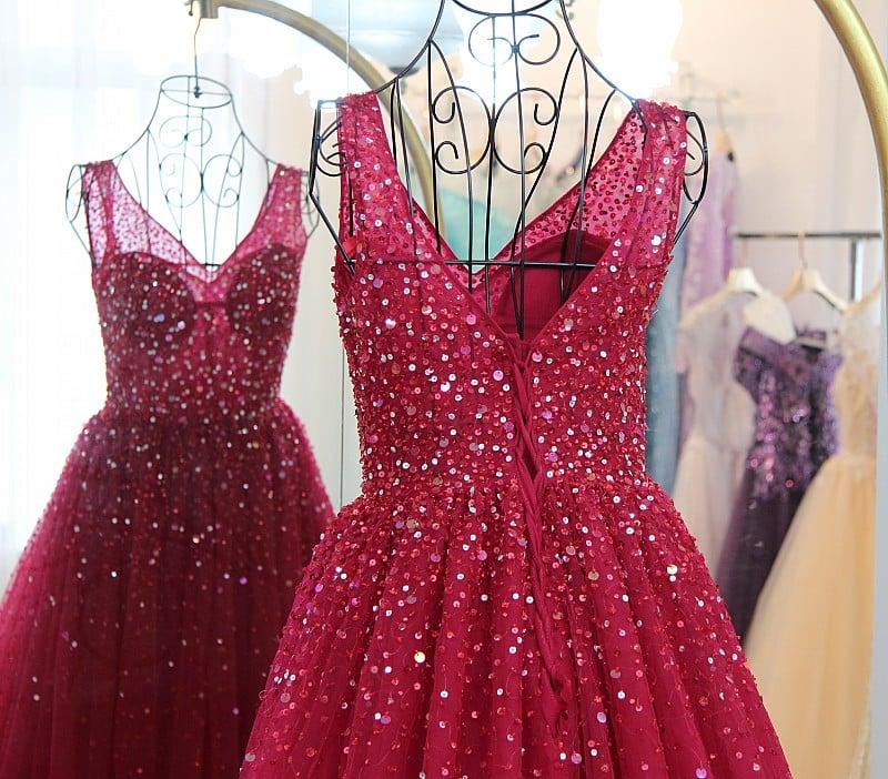Wine Red Sequins V-neckline Long Party Dress, Dark Red Tulle Sparkle Prom Dress