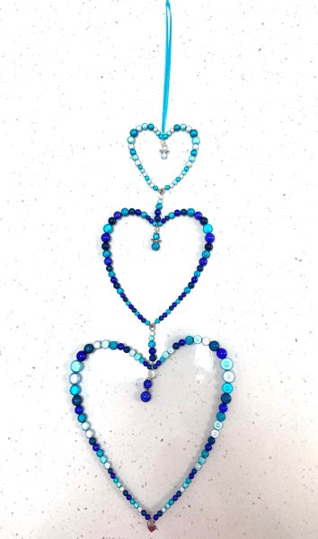 Image of Trio Of Beaded Hearts