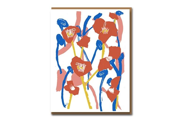 Image of Hockney Poppies - Greetings Card