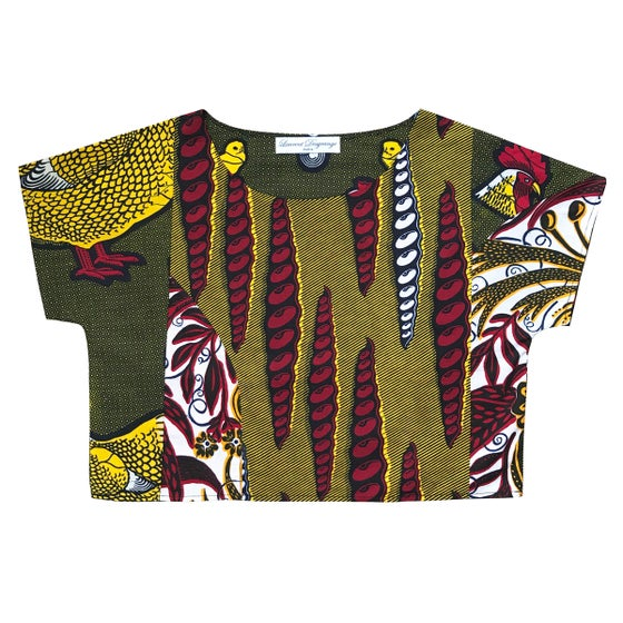 Image of Upcycled African Wax Crop Top