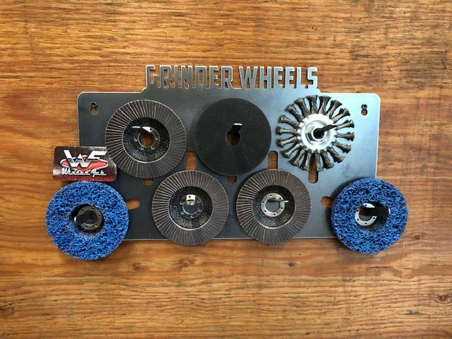 """Image of Grinder Wheel Rack - 4 1/2"""" and 7"""" Wheels - Upright Wall Mount"""