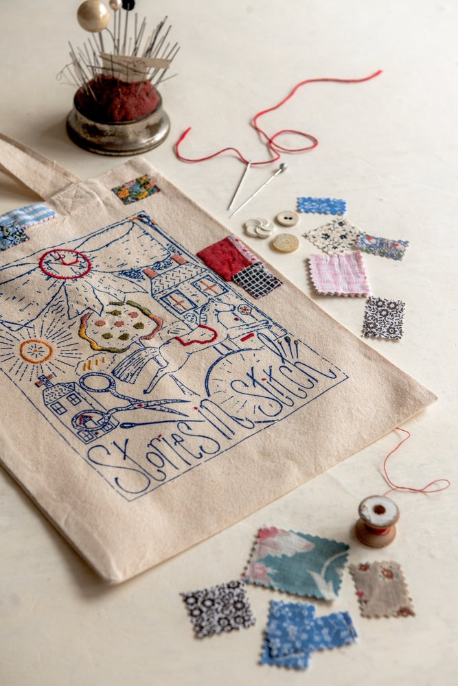 Image of 'Stories In Stitch' small cotton tote bag