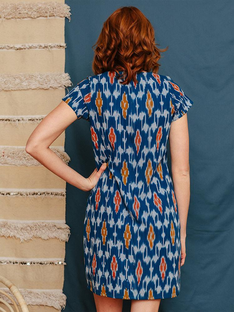 Image of Farida Shift Dress - Blue Ikat