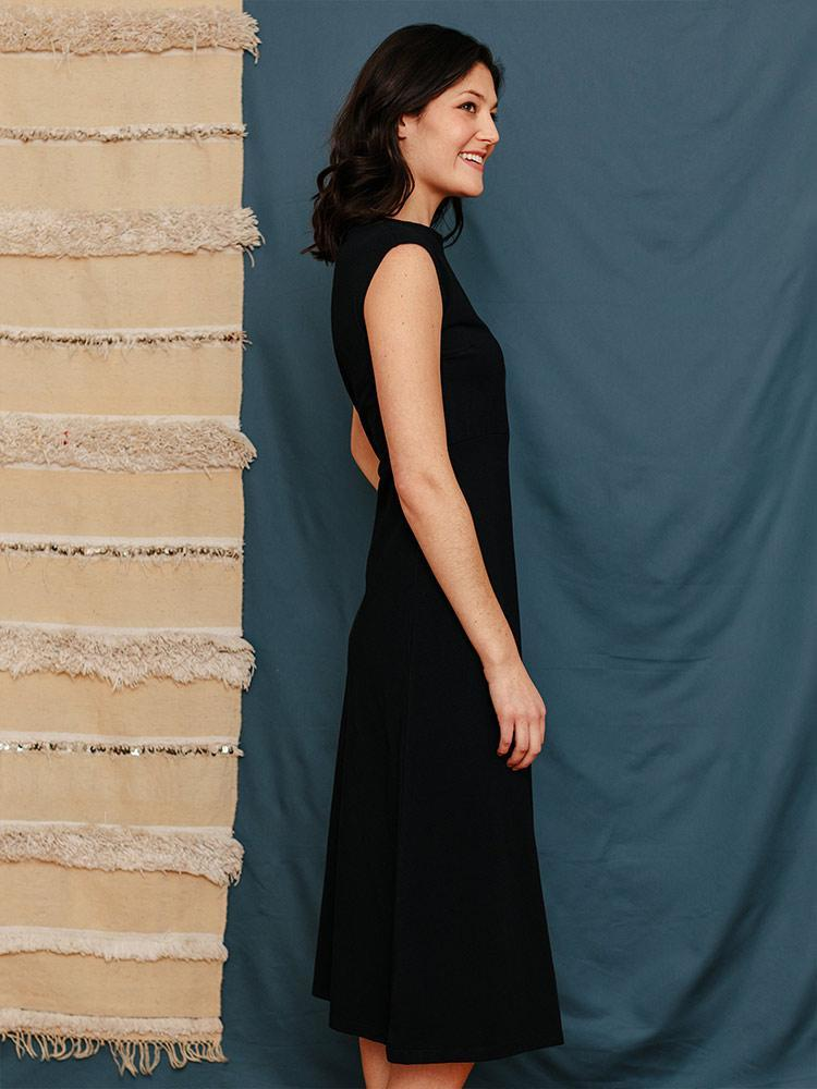 Image of Organic Cotton Elise Midi Sheath Dress - Black Jersey