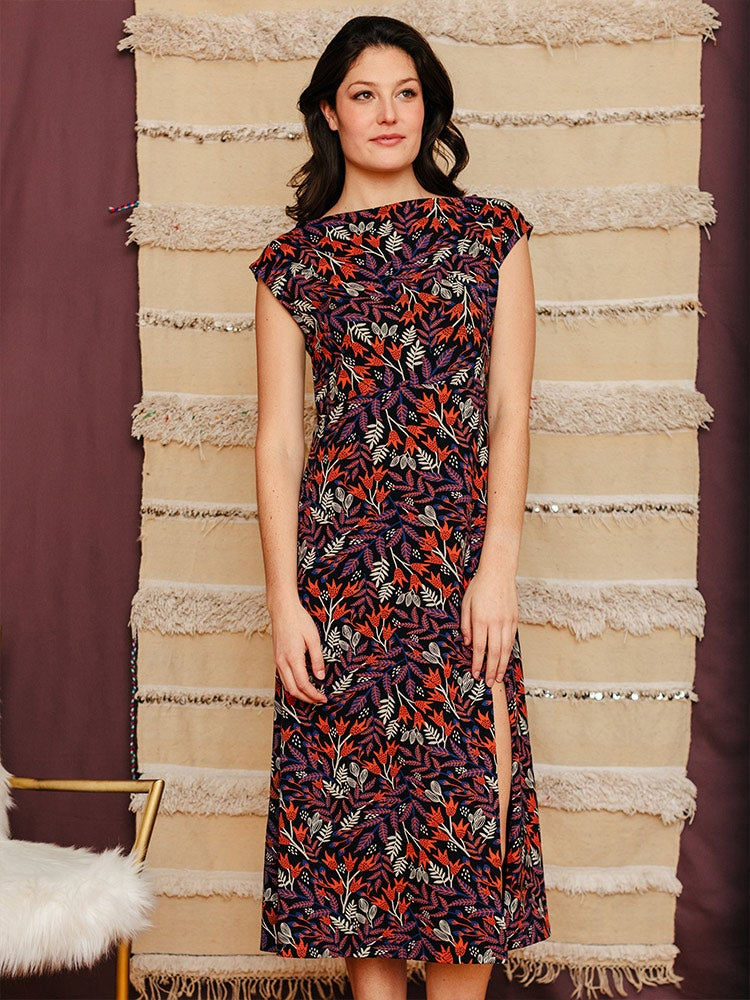 Image of Organic Cotton Elise Midi Shift Dress - Black Orchid print