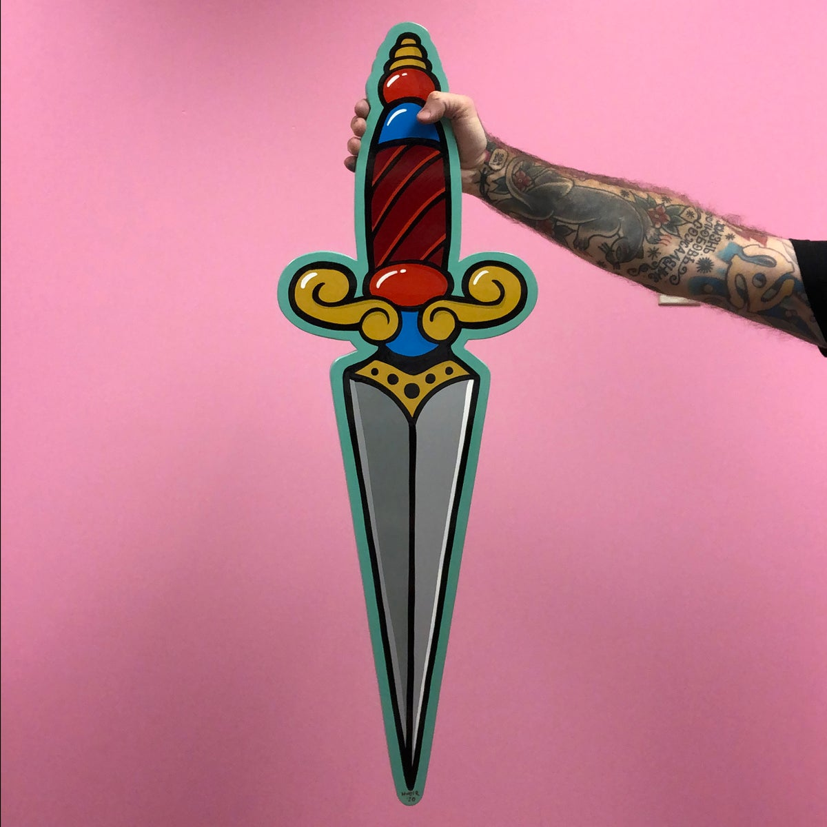 Image of Pointed Dagger- Hand Painted Wood Cut out