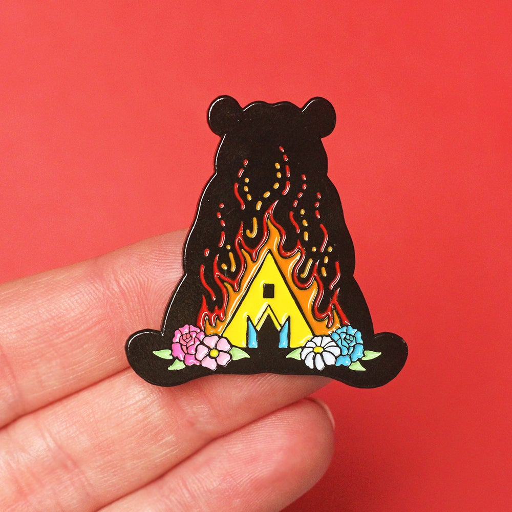 Image of Midsommar festival inspired enamel pin - bear - flowers - horror movie pin - lapel pin