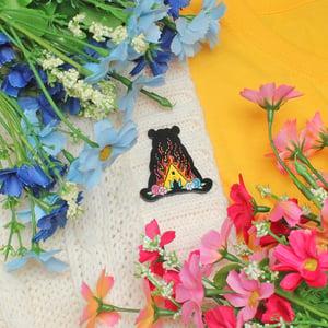Image of Midsommar festival inspired enamel pin - bear - flowers - horror movie pin - lapel pin
