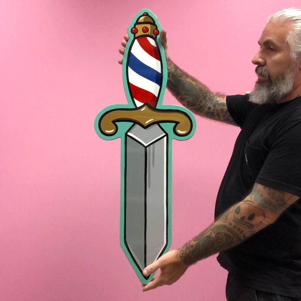Image of Barber Striped Dagger- Hand Painted Wood Cut Out