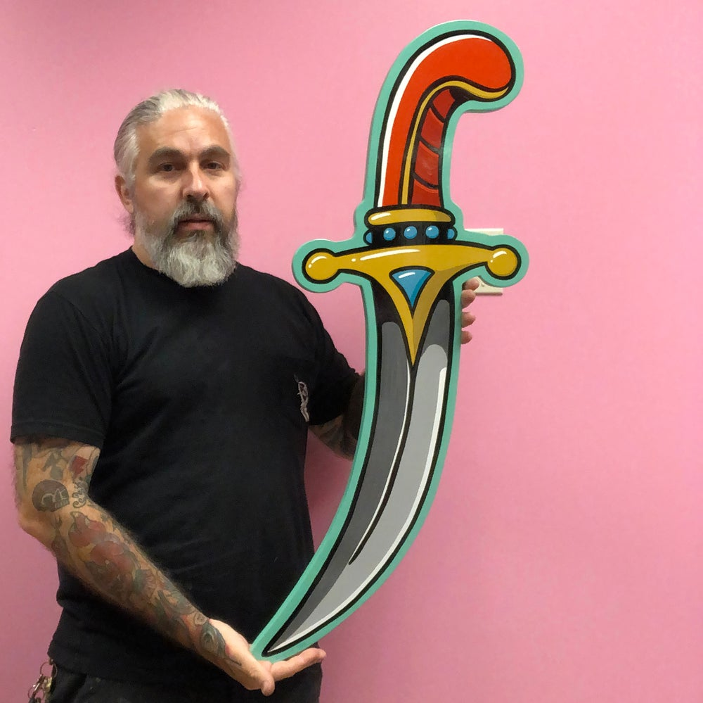 Image of Curved Dagger- Hand painted wood cut out
