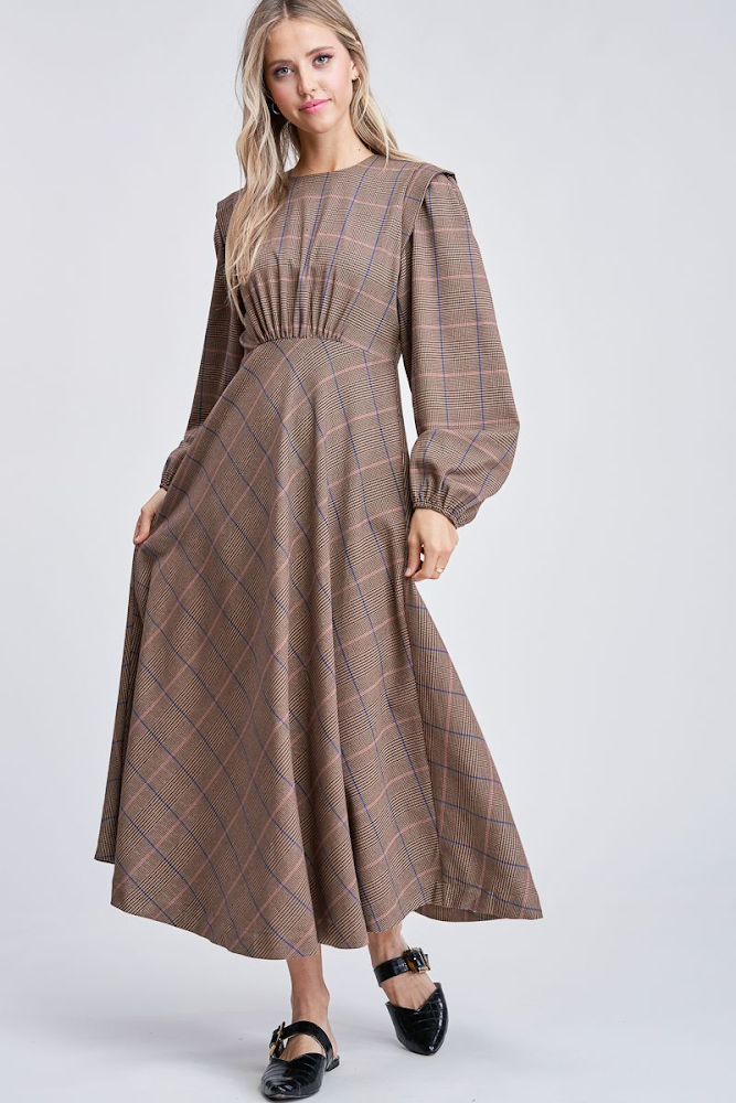 Image of Traditional Plaid Maxi