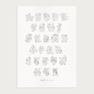 Image of Letterpress Coloring Alphabet