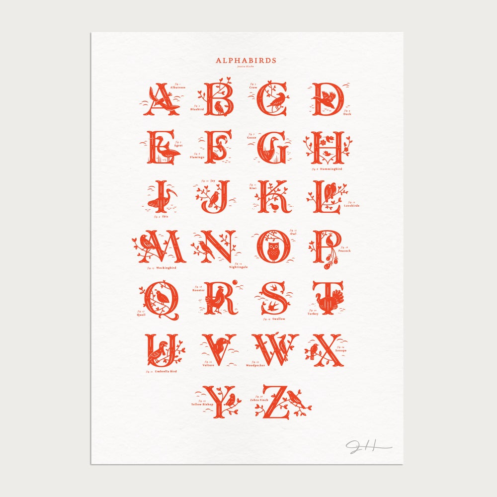 Image of Alphabirds Red Print