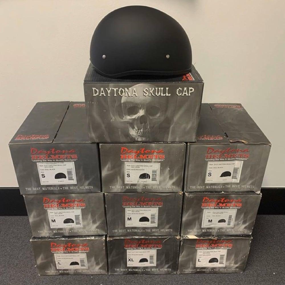 Image of 1/2 DOT Daytona Skull Cap Helmets (Dull or Gloss Black)