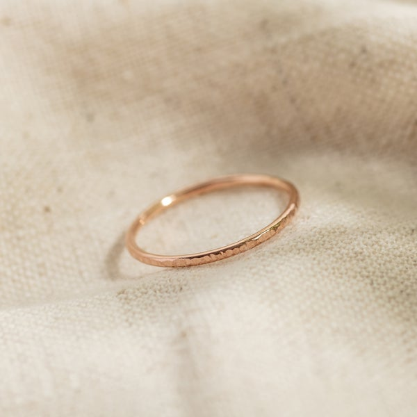 Image of 9ct Rose Gold Textured Stacking Ring