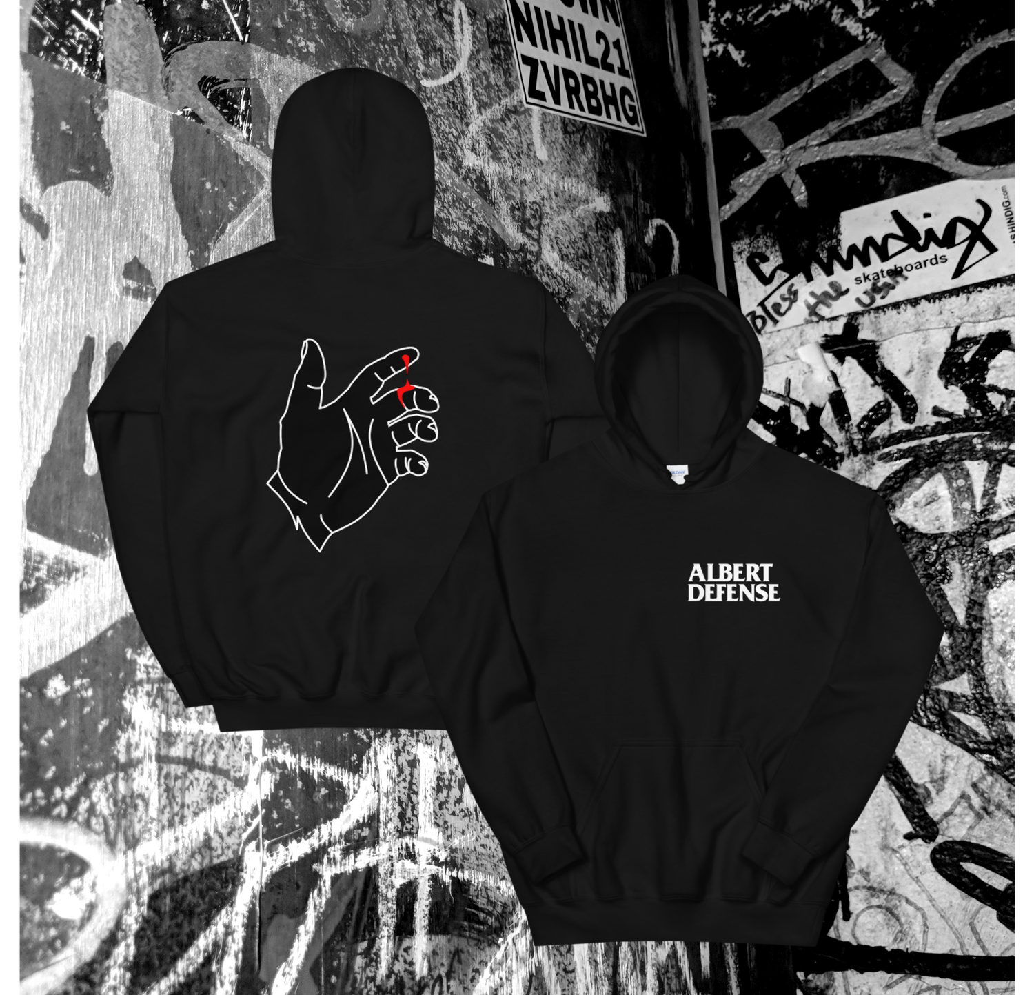 Image of New Black Hand Hoodie