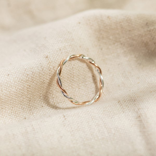 Image of Silver & 9ct Rose Gold Twisted Vine Stacking Ring