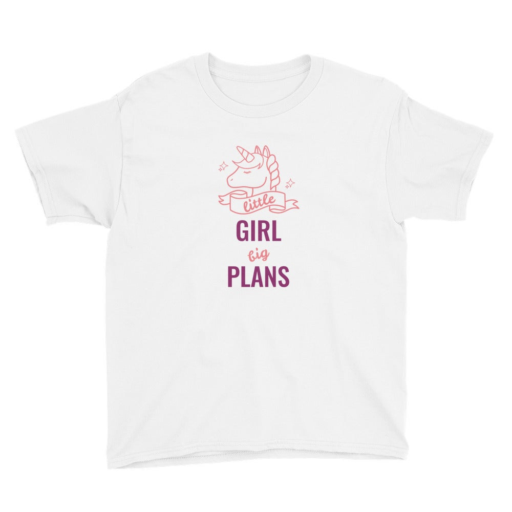 Image of Little Girl, Big Plans Youth Short Sleeve T-Shirt