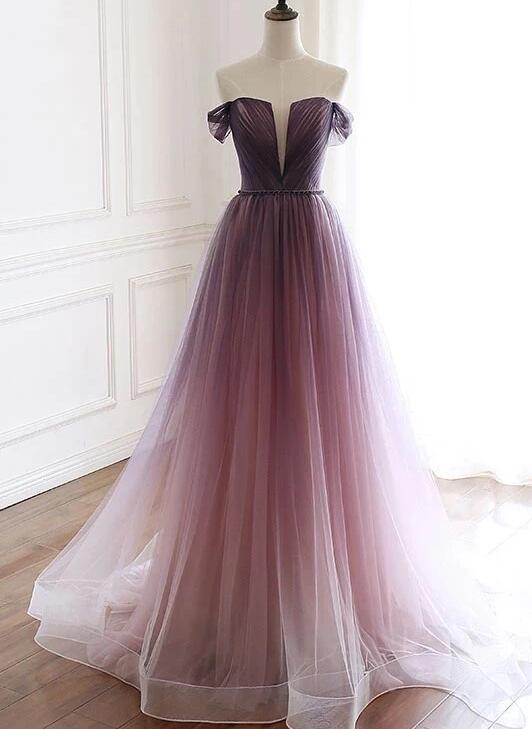 Beautiful Off Shoulder Tulle Graident Long Party Dress, Long Evening Gown