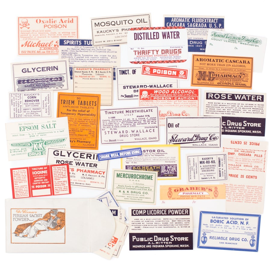 Image of 40 Antique Pharmacy Labels in Envelope