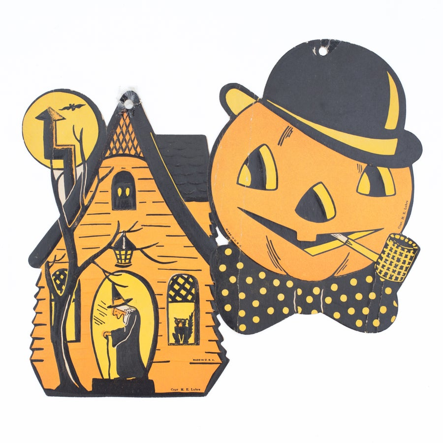 Image of Cardboard Halloween Decoration Cut Outs - Set of 2