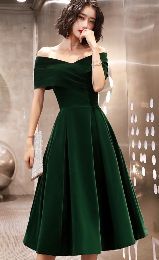 Green Velvet Tea Length Bridesmaid Dress, Off Shoulder Party Dress