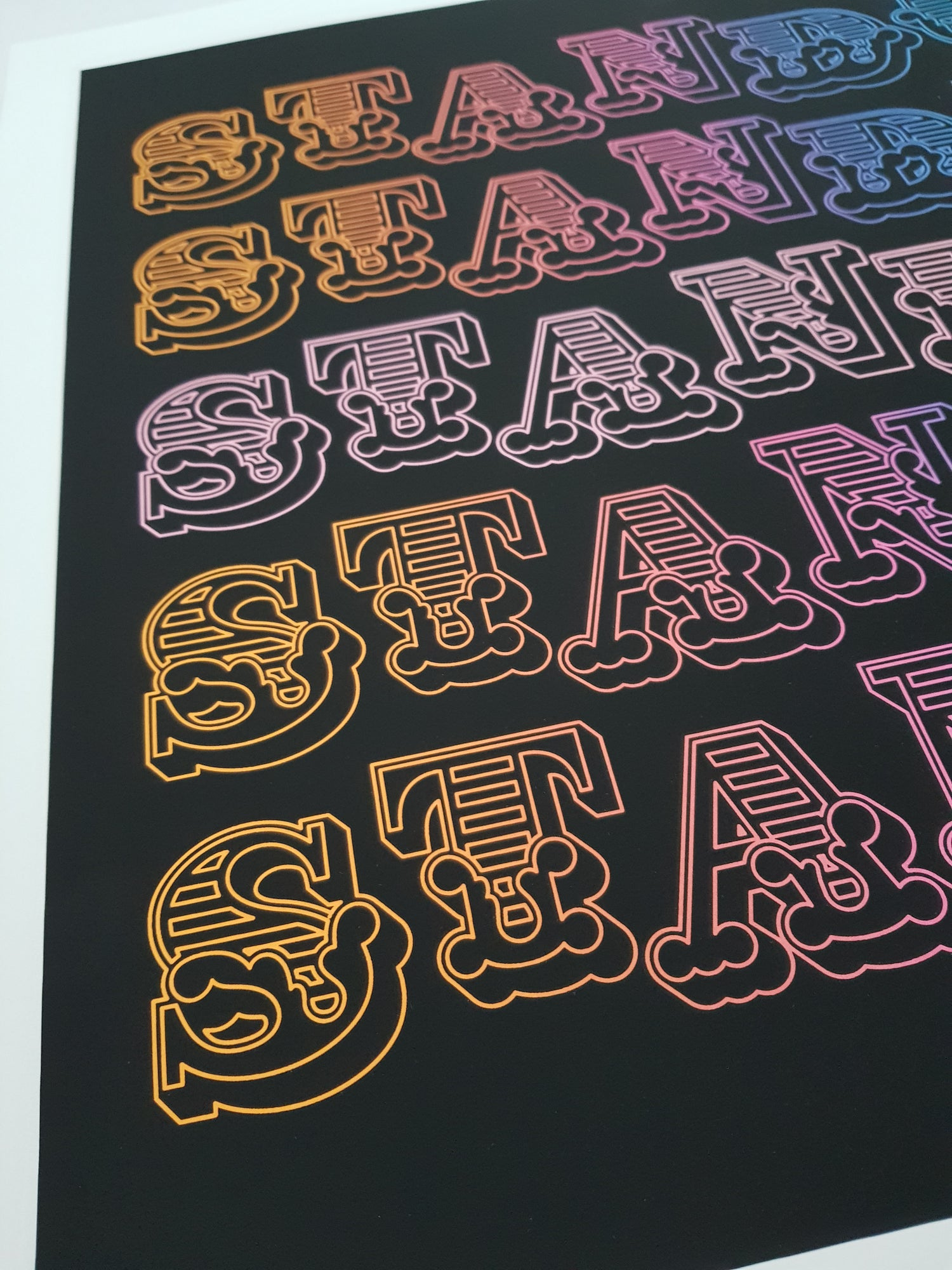 Image of BEN EINE - STAND UP - LIMITED EDITION SCREENPRINT 150 - 50CM X 50CM