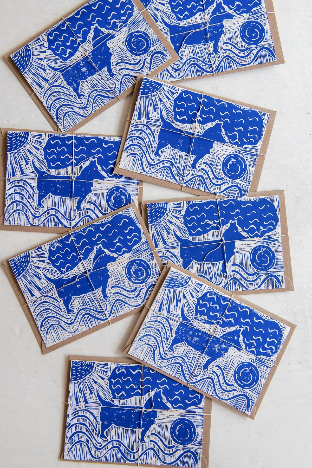 Image of 'Dog and ball' hand block printed greeting cards