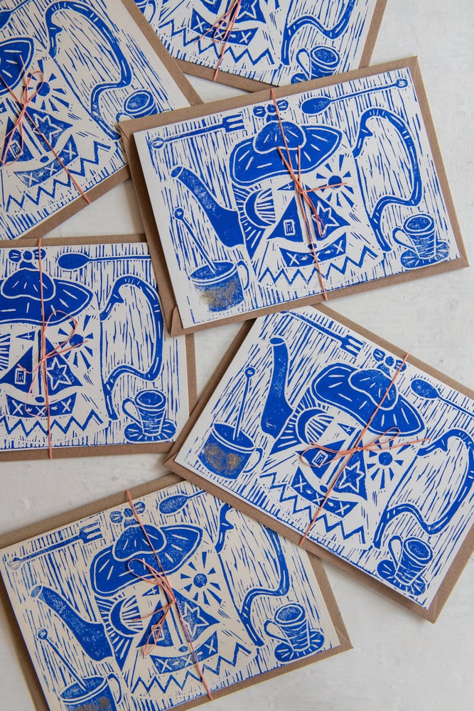Image of 'Still Life' hand block printed large greeting cards