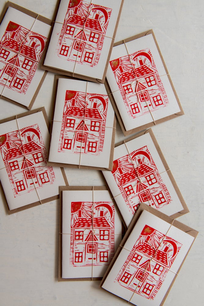 Image of 'House, moon and sun' block printed cards in red