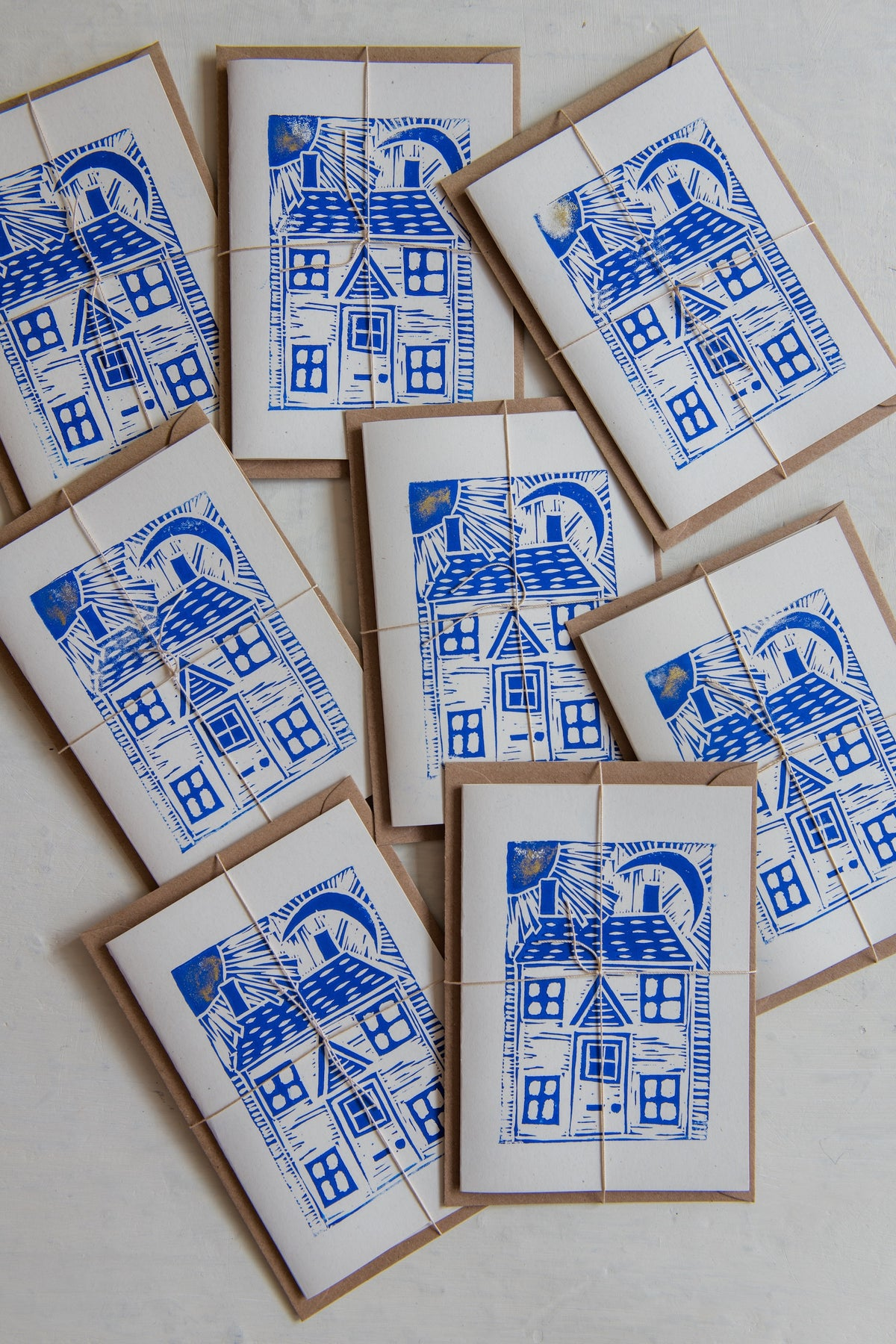 Image of 'House, moon & sun' hand block printed greeting cards