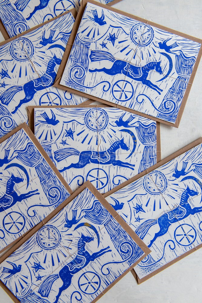 Image of 'Le Cirque' hand block printed large greeting cards