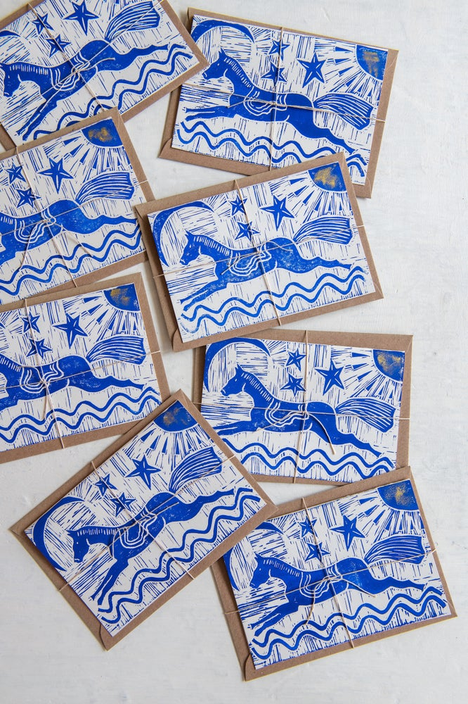 "Image of 'Le Cirque"" hand block printed greeting cards"