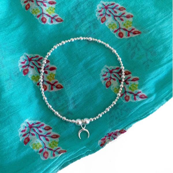 Image of Sterling Silver Crescent Half Moon Charm Bracelet