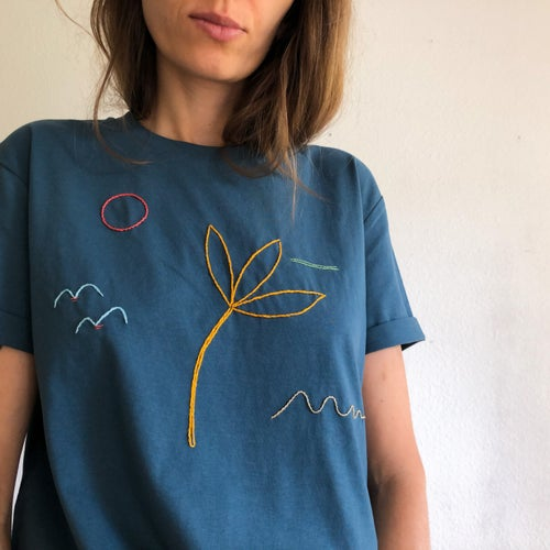 Image of Last days of summer - hand embroidered t-shirt, made of 100% organic cotton, GOTS certified