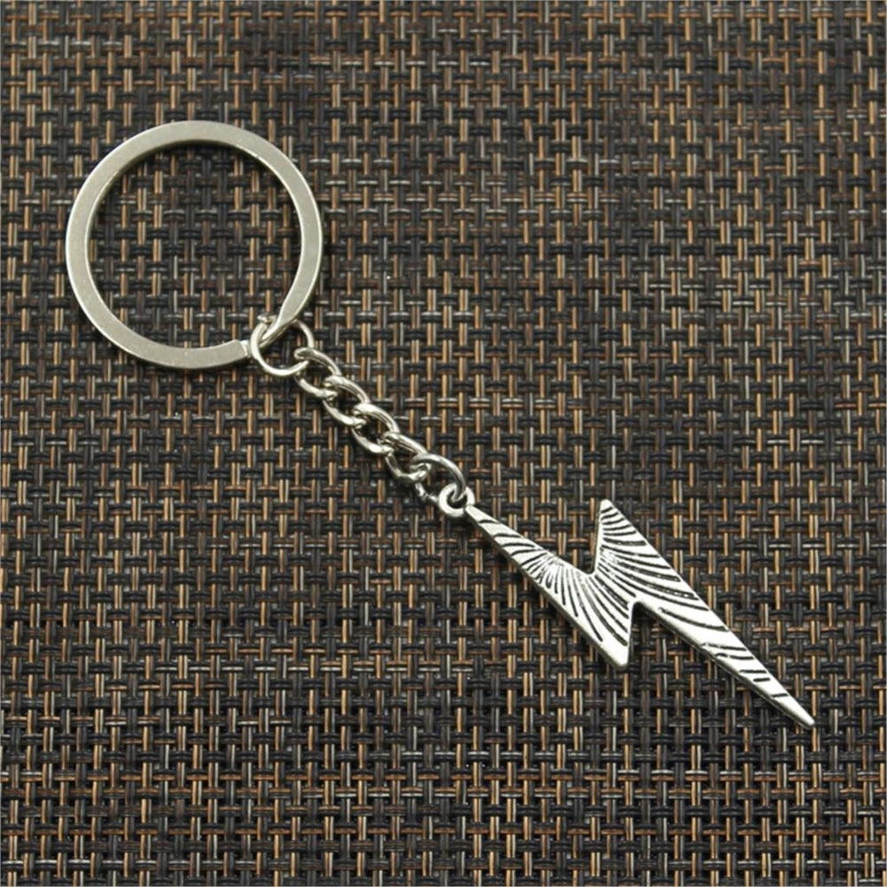 Metal Lightning Bolt Keychain (Silver or Bronze)