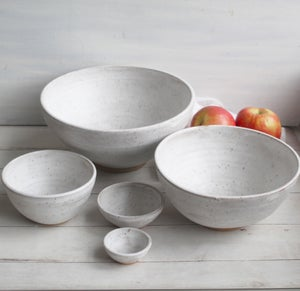 Image of Rustic Nesting Bowls in White Matte Glaze on Speckled Stoneware Five Piece Made in USA