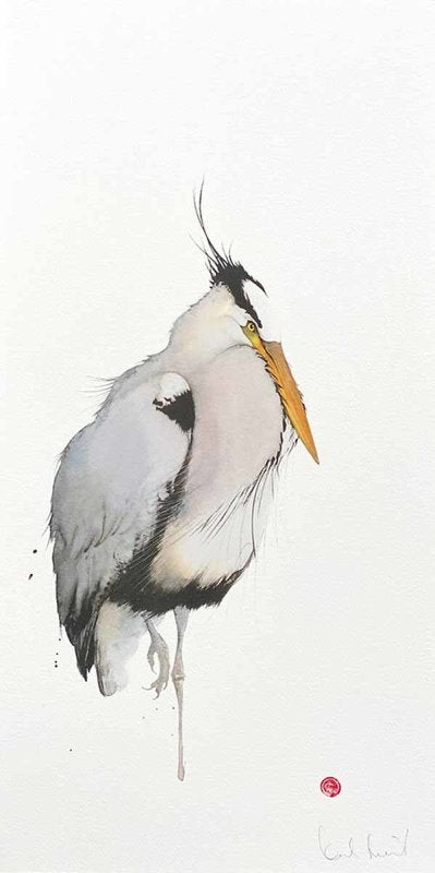 Image of KARL MARTENS - 'GREY HERON' - LITHOGRAPH - SIGNED