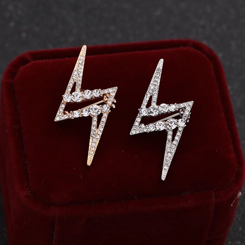Fashion Rhinestone Lightning Bolt Brooch (Silver or Gold)