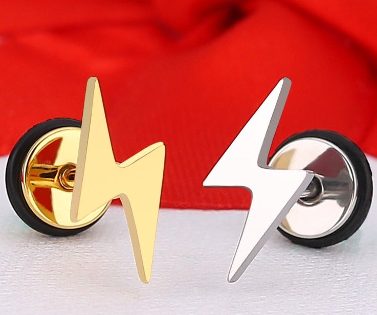 2 pcs Lightning Stainless Steel Studs Earrings