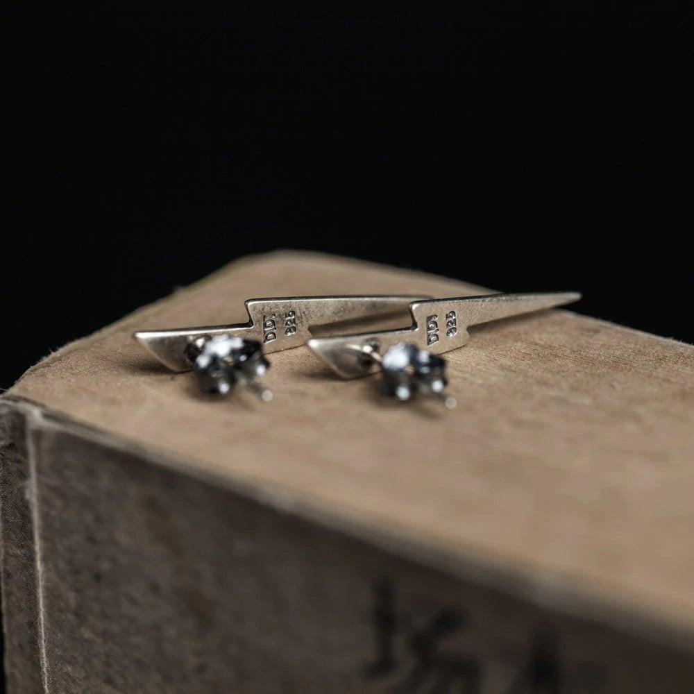 Silver Antique Finish Lightning Bolt Earrings (925 Silver)