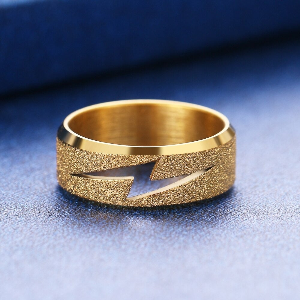Lightning Bolt Ring in Stainless Steel (Gold/Silver)