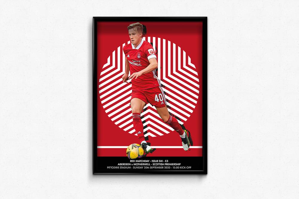 Image of Aberdeen FC Red Matchday Print - Aberdeen v Motherwell - Ross McCrorie