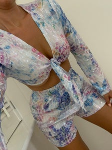 Image of Pastel Ombré Sequin Flared Sleeve Co-Ord