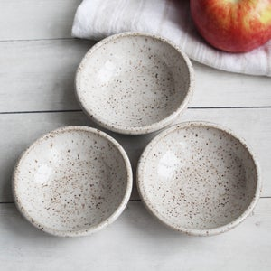 Image of Set of Three Rustic Prep Bowls in Speckled Brown Stoneware, Handmade Pottery Bowls, Made in USA