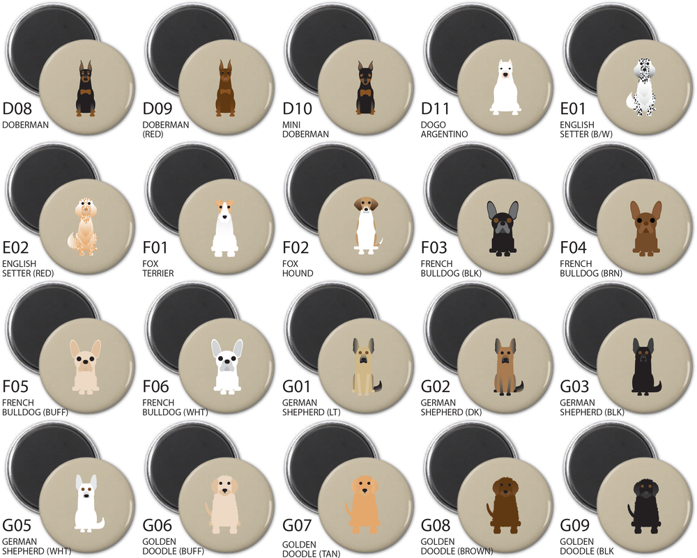 Simply Dogs Round Magnet Sets A-N Breeds