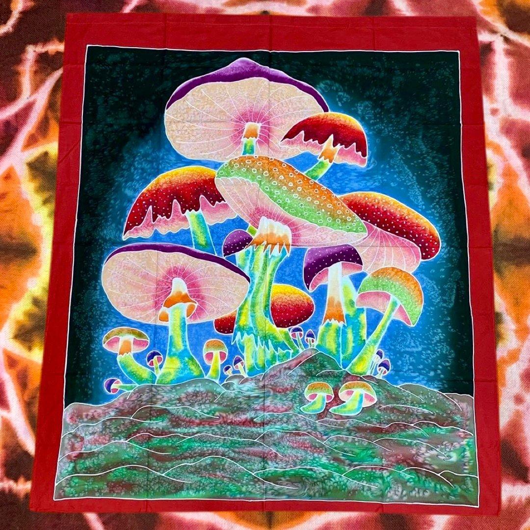 Mushroom Batik Tapestries!! Handmade - 100% Cotton! #3