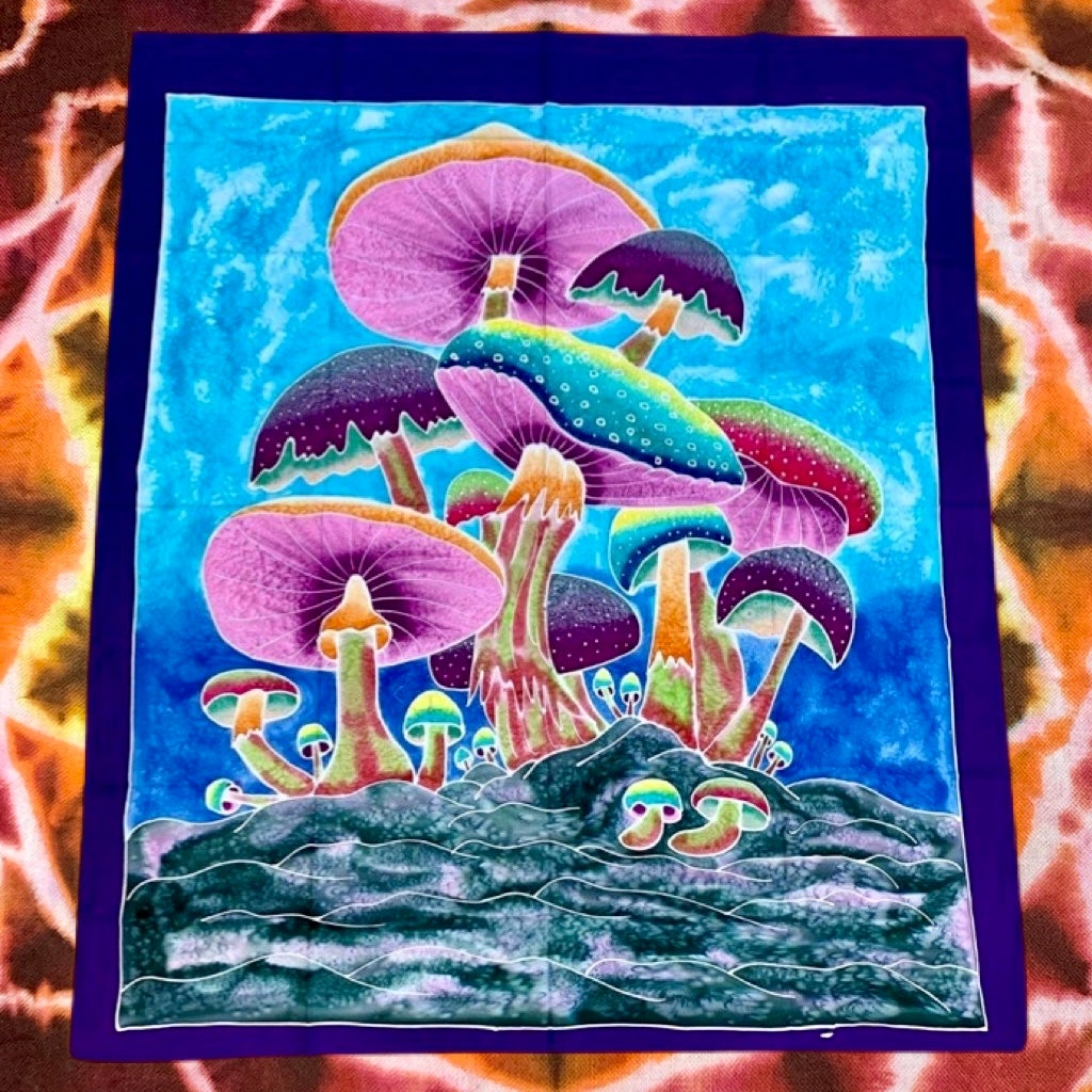 Mushroom Batik Tapestries!! Handmade - 100% Cotton! #4