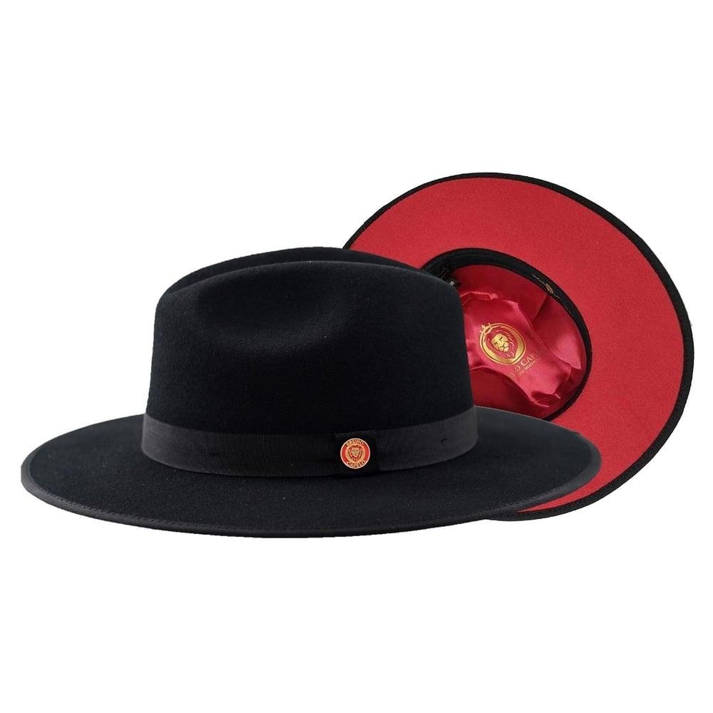 Image of Bruno Capelo Black / Red Bottom Australian Wool Fedora Hat MO-200
