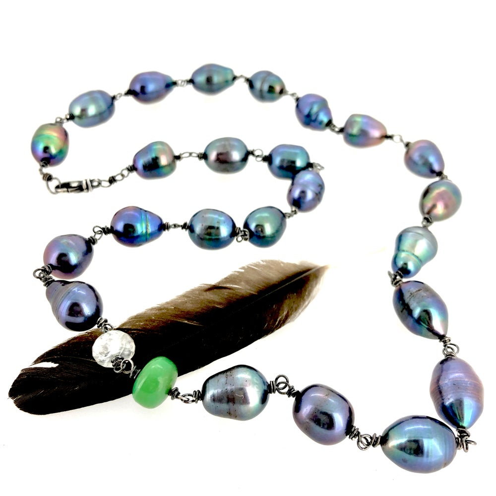 Image of peacock pearl necklace with chalecedony and moonstone